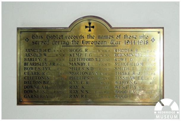 Wanstead Methodist Church Roll of Honour. Photo by Redbridge Museum.