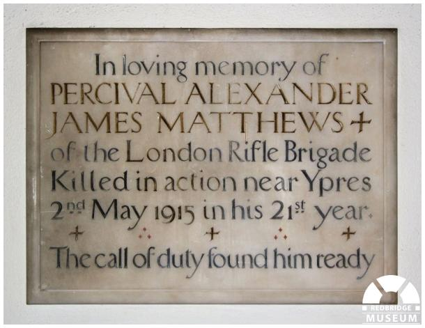 Percival Alexander James Mathews Memorial Tablet. Photo by Redbridge Museum.