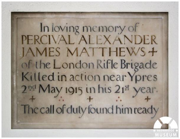Percival Alexander James Mathews Memorial Tablet. Photo by Redbridge Museum.