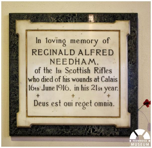 Reginald Alfred Needham Memorial Tablet. Photo by Redbridge Museum.
