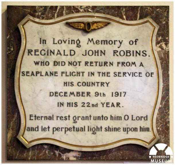 Reginald John Robins Memorial Tablet. Photo by Redbridge Museum.