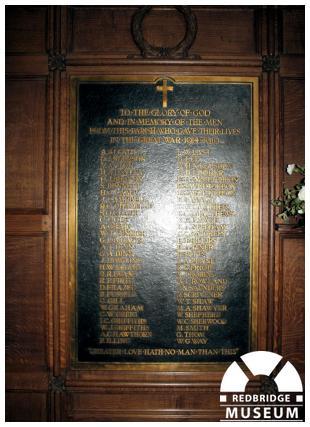 St Gabriel's Church Memorial. Photo by Redbridge Museum.