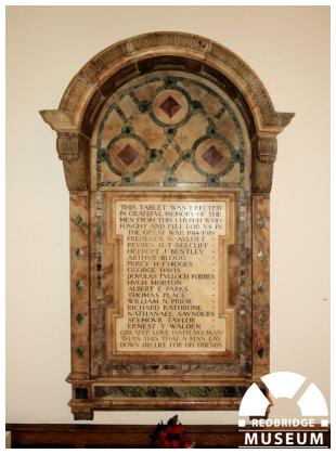 Wanstead Congregational Church Memorial. Photo by Redbridge Museum.