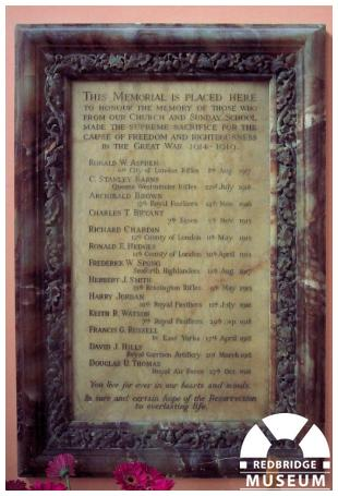 Woodford Wesleyan Church Memorial Tablet. Photo by Adrian Lee.