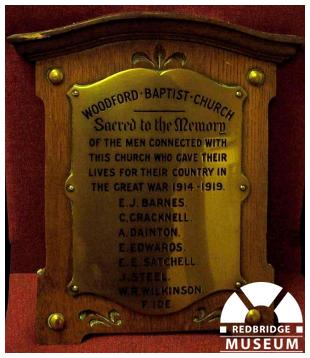 Woodford Baptist Church Memorial Plaque. Photo by Adrian Lee.