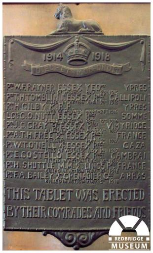 Woodford Green Postmen Memorial Plaque. Photo by Adrian Lee.