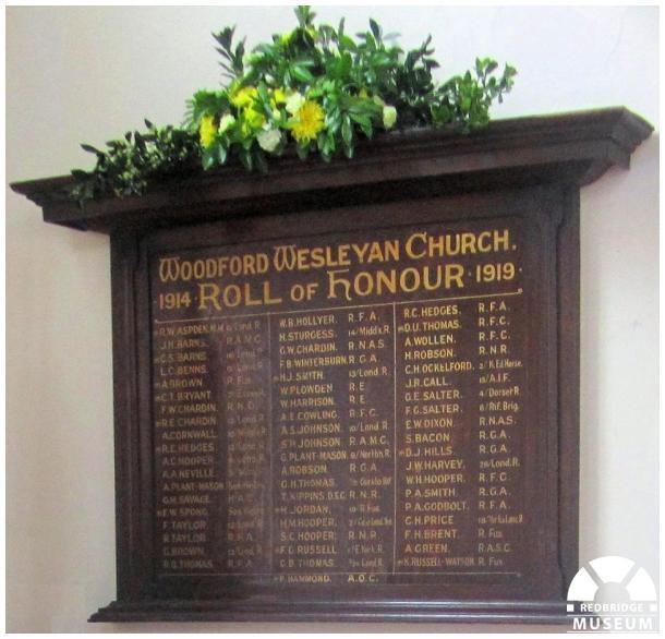 Woodford Wesleyan Church Roll of Honour. Photo by Sheila Platt.