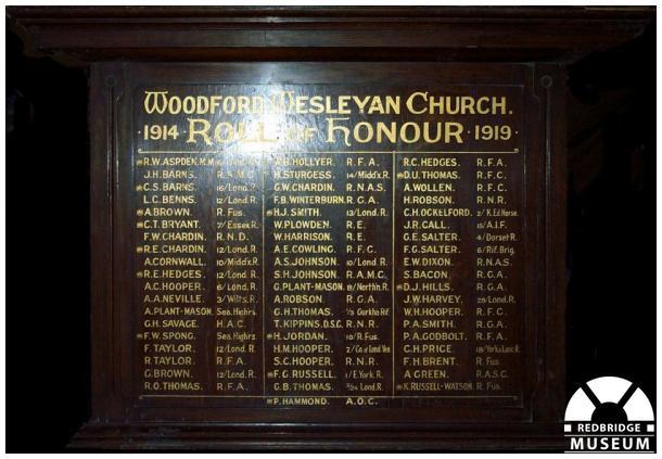 Woodford Wesleyan Church Roll of Honour. Photo by Adrian Lee.