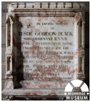 Leslie Gordon Black Memorial Tablet. Photo by Howard Anderson.