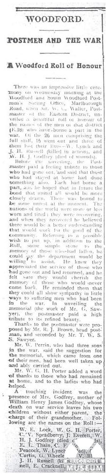 South Woodford Sorting Office Roll of Honour. Photo by Woodford Times Newspaper 06/06/1919.