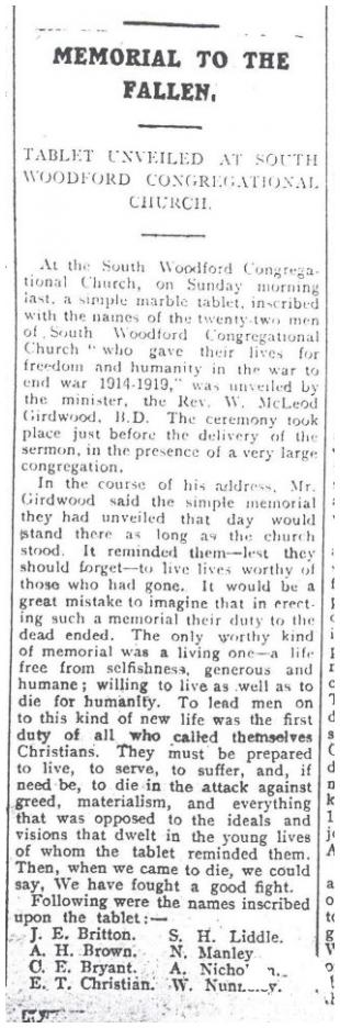 South Woodford Congregational Church Memorial Tablet. Photo by Woodford Times Newspaper 15/08/1919.