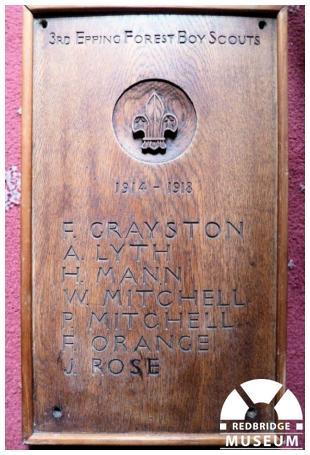 3rd Epping Forest Scout Group Memorial Plaque. Photo by Epping Forest South District Scout Council.