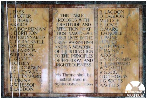 Woodford Union Church Memorial Tablet. Photo by Adrian Lee.