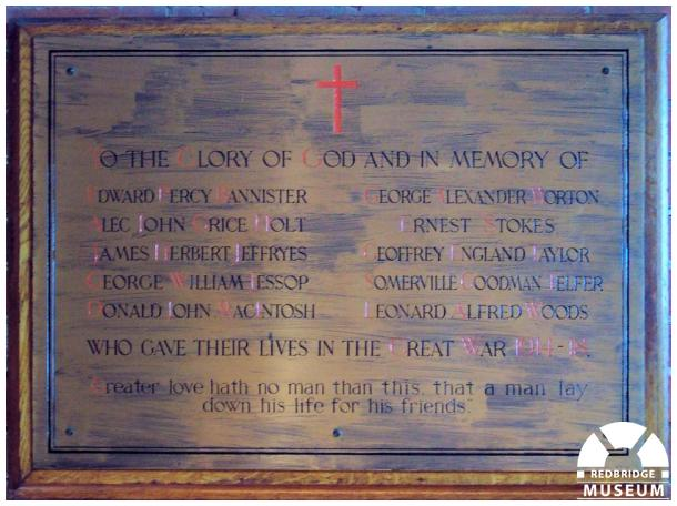 Woodford Congregational Church Memorial Plaque. Photo by Adrian Lee.
