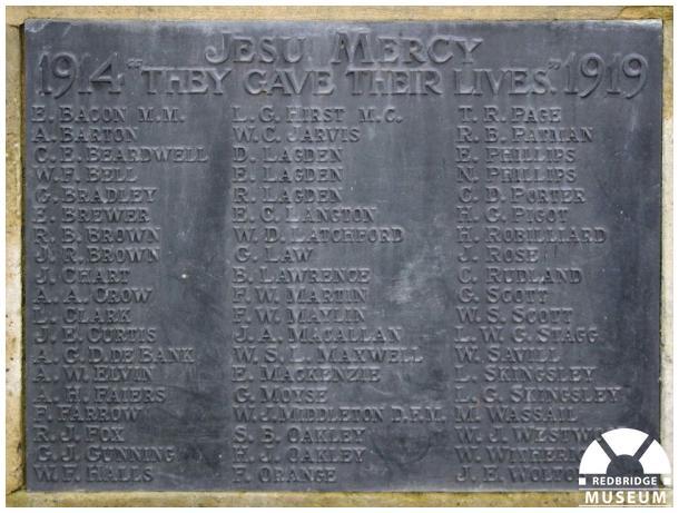 St Barnabas Church Memorial. Photo by Redbridge Museum.