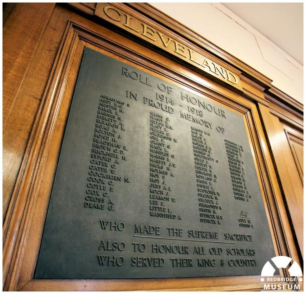Cleveland Road School Memorial Board. Photograph by