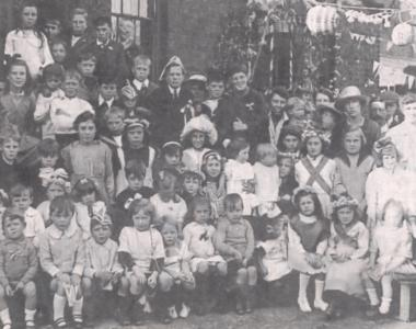 Peace Day street party at Clyde Cottages, Riverdene Road, Ilford, 19 July 1919