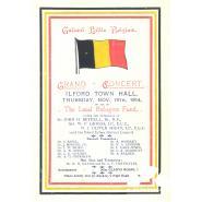 Programme for a fund-raising concert for Belgian Refugees, Ilford Town Hall, 19 November 1914. © Redbridge Information & Heritage