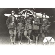 'B' Flight, 44 Squadron, Royal Flying Corps, Hainault Farm, 1918. Left to right: 2nd Lieutenant L.S. Gedge, Lieutenant J.H Summers, Captain Robert N Hall, Lieutenant John Donald Baird DSO, MC, 2nd Lieutenant Thomas Michael O'Neil. © Redbridge Information & Heritage P152