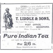 Advertisement for T. Liddle & Sons, Woodford, 12 May 1916. © Redbridge Information & Heritage. This advertisement from the Woodford Times newspaper shows how local people were made aware of the Indian contribution to the war as well as the importance of Indian products, like tea.